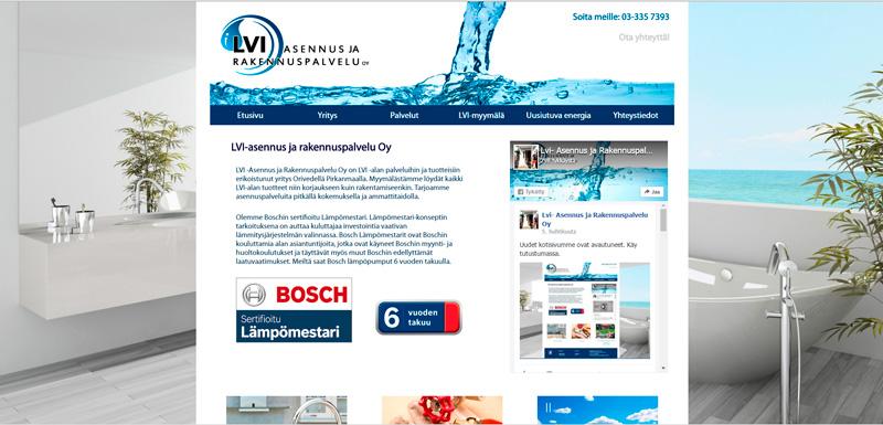 LVI-asennus ja rakennuspalvelun responsiiviset verkkosivut